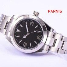 Parnis ספיר זכוכית שחור חיוג סטרילי 40mm אוטומטי גברים שעון