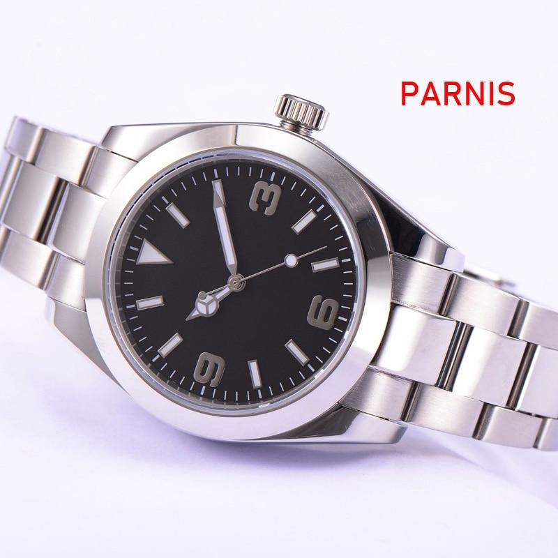 Parnis Sapphire Glass Black Sterile Dial 40mm Automatic Men Watch