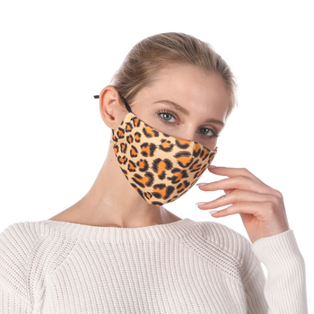 Leopard print Printing Reusable Protective PM2.5 Filter Mouth Mask Anti Dust Mask Windproof Adjustable Face Masks Face Masks