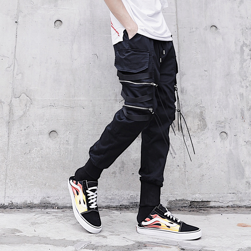 Autumn And Winter New Style Multi-Webbing Loose-Fit Beam Leg Casual Pants Teenager Street Snap-Style Nightclub Stage Hip Hop Men