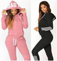 2019 Women Elegant Top And Pants Women Suit Stripe Fitness Autumn Outfit Womens Casual Sweat Suits Two Piece Tracksuit For