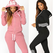 2019 Women Elegant Top And Pants Women Suit Stripe Fitness Autumn Outfit Womens