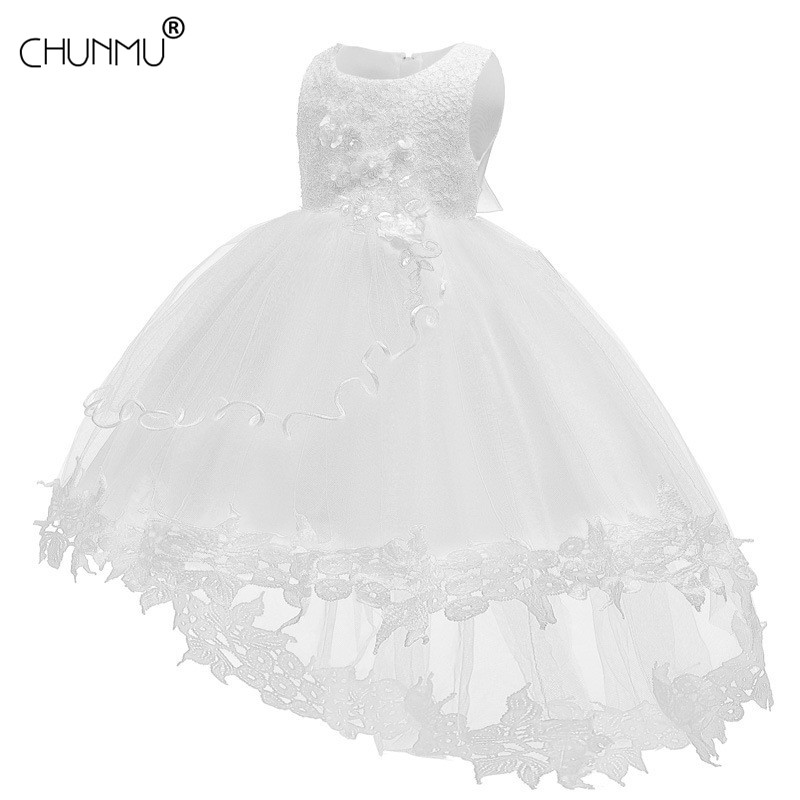 Vestido de bebê menina branca vestido baptismal para infantil rendas pétala vestidos de bebê tutu flor princesa vestido de casamento do bebê menina