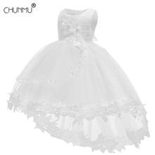 White Baby Girl Dress Baptismal Dress for Infant Lace Petal Baby Dresses Flower Tutu Princess Wedding Baby Girl Dress