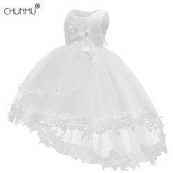 Белое платье для маленьких девочек крестильное платье для младенцев, кружевные платья с лепестками для малышей платье-пачка принцессы с цв...