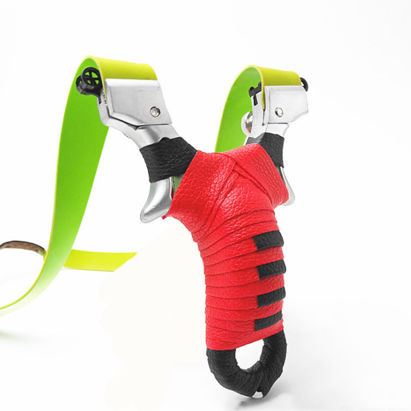 Professional Slingshot Alloy Shooting Slingshot With Flat Rubber Band Portable Outdoor  Sports  Equipment