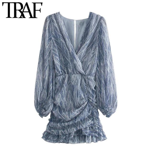 TRAF Women Chic Fashion Animal Print Asymmetric Draped Mini Dress Vintage Long Sleeve Ruffled Female Dresses Mujer 1