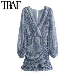 TRAF kobiety Chic moda nadruk zwierzęta asymetryczna drapowana Mini sukienka w stylu Vintage z długim rękawem potargane sukienki damskie Mujer