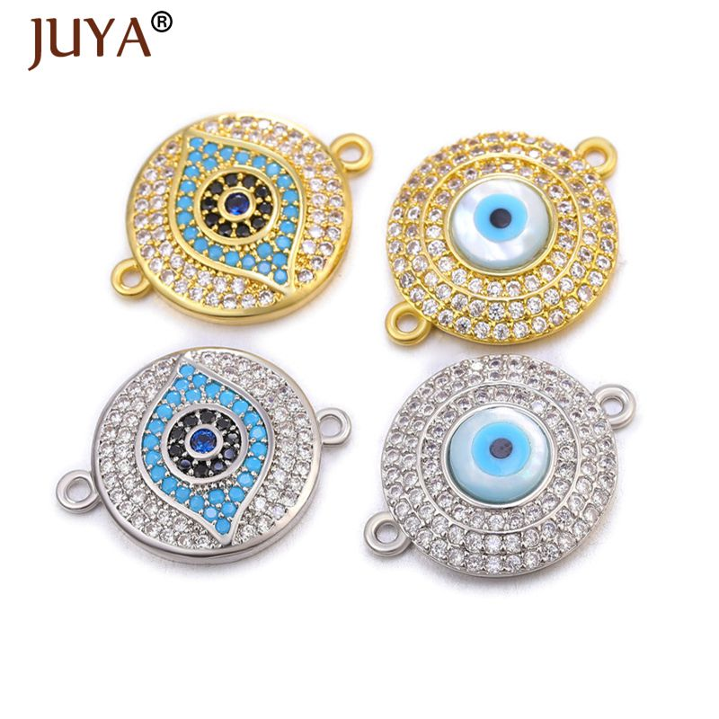 JUYA Evil Eye Connectors Trendy Charms For Jewelry Making Supplies DIY Woman Necklace Bracelet Handmade Jewelry Accessories