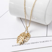 Simple Classic Pendant Necklace Feather Necklace Long Sweater Chain Statement Jewelry Choker Necklace for Women Leaf