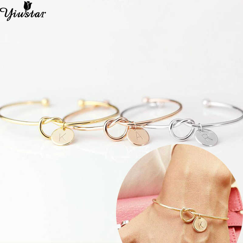 Yiustar Tiny Initial Letter Bangles Bracelets Copper Personalized A-Z Alphabet Pulseiras Everyday Jewelry Bridesmaids Gifts