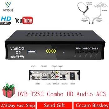 DVB-T2 DVB-S2 Combo Fully HD Digital TV Tuner Receptor DVB-T Terrestrial Satellite TV Receiver Support BISS KEY Set Top box цена 2017