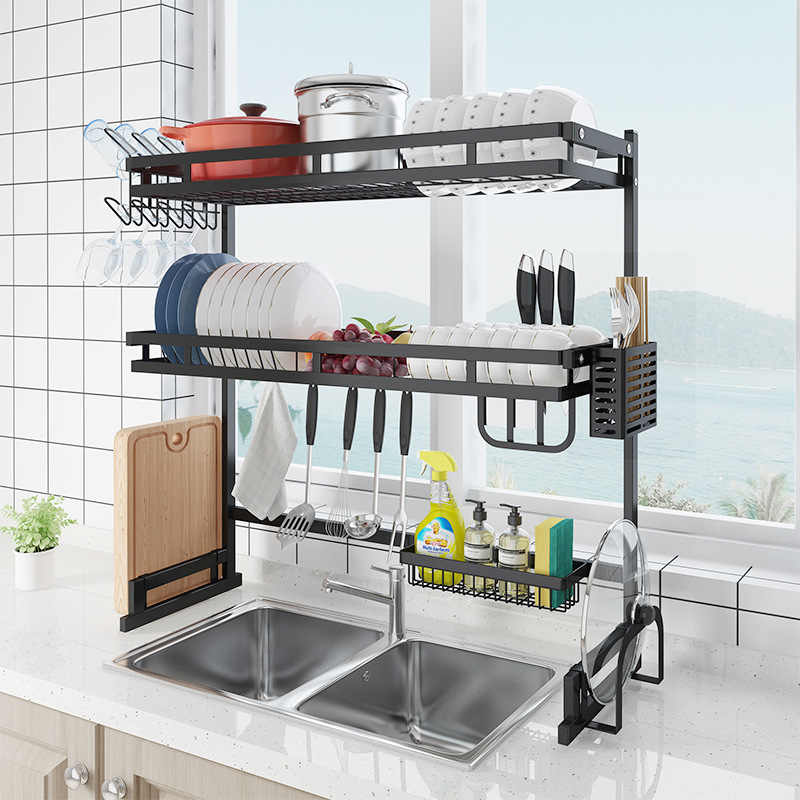 upgraded 2 layer kitchen sink rack stainless steel bowl plate dish rack drainer sponge sink storage shelf kitchen organizer