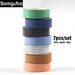 7pcs/set  Grid Washi Tape Set Masking Tape Washy Tape Organizer Journaling Supplies  Washitape Stationery Sticker Scrapbook