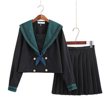 Japanese School Dress Uniform Women Girls Bright Starry Jk Uniforms Ladies Green Black Sailors Suit Pleated Skirt Sets With Tie(China)