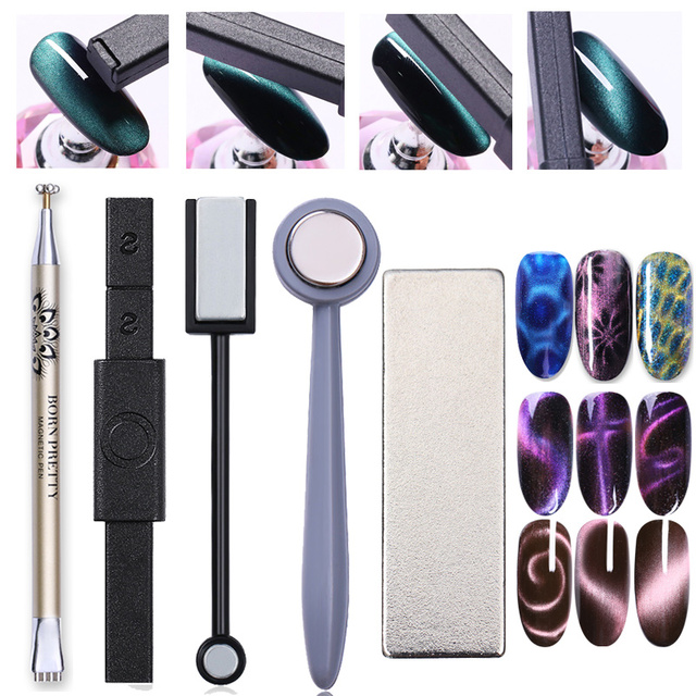 Nail Art Magnet Stick Cat Eye Magnet for UV Gel Varnish Polish 9D Cat Eye Line Strip Effect Strong Magnetic Pen Nail Art Tools