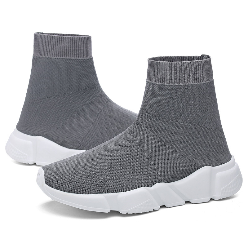 Men Sneakers Women Running Shoes Unisex Trend Sock Sneakers Light High Top Trainers Outdoor Jogging Silver Athletic Shoes in Running Shoes from Sports Entertainment