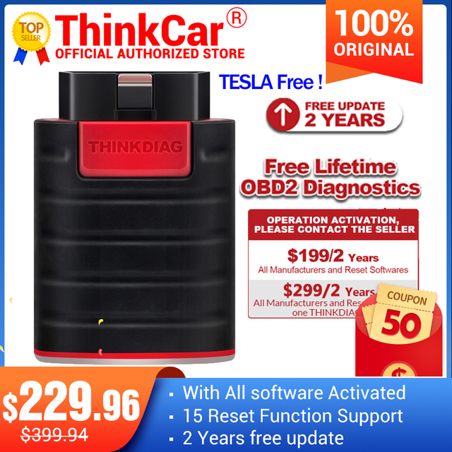 Thinkdiag 전체 소프트웨어 전체 시스템 OBD2 스캐너 블루투스 16 재설정 서비스 코드 리더 확장 케이블 PK AP200 easydiag
