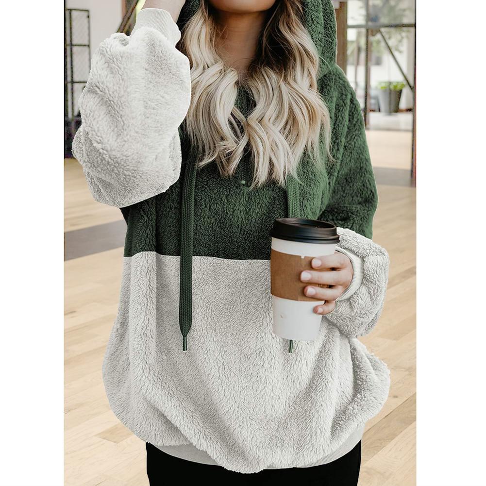 Dating Casual With Zipper Winter Long Sleeve Artificial Fleece Warm Drawstring Loose Women Hoodie Daily Splice Fuzzy Soft