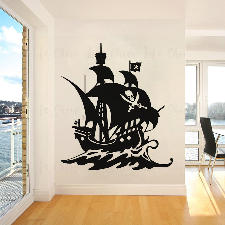 Pirate Skull Personalised Name Wall Art Mural Decal Sticker