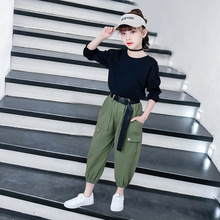 Kids Girls Clothes Set Summer 2019 Outfits Fashion Black T shirt Overalls Pants Casual Sets 6 8 10 12 Year