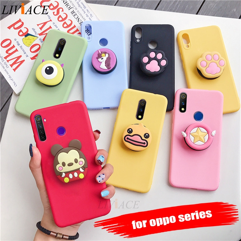 3D cartoon silicone phone holder case for oppo reno 2 z 10x zoom 5g reno2 f7 f5 a5s a3s a5 a73 r15 pro cute soft back cover