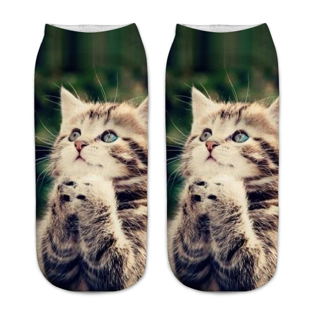 Casual Work Business Socks 3D Cute Cat Printing Medium Sports Socks Christmas Gift Socks Low Ankle Kids Funny Sock 1.6