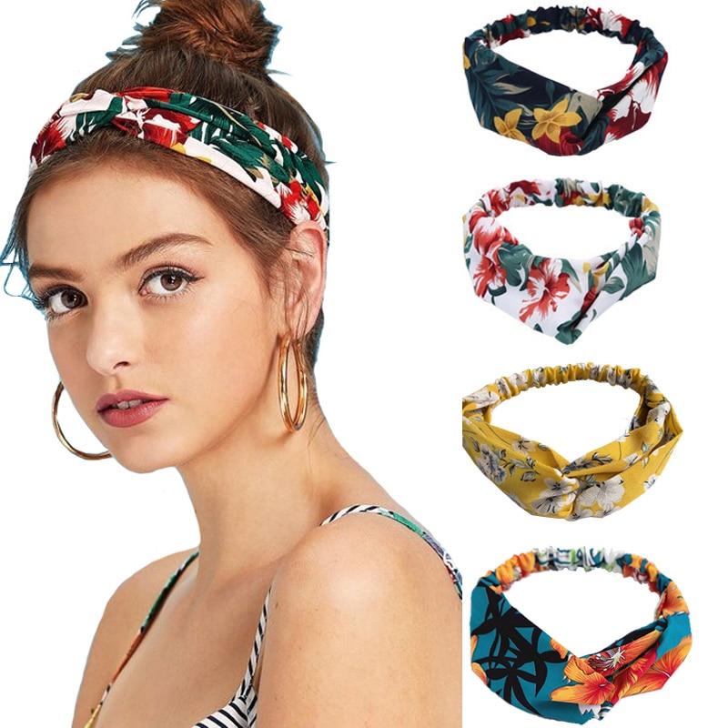 Женская повязка на голову с растительным принтом, резинка для волос с цветами и узлом-тюрбаном, винтажная повязка на голову, аксессуары для ...