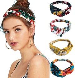 Nova moda feminina bandana impressão plantas flores faixa de cabelo cruz nó turbante bandagem cabeça do vintage envoltório acessórios de cabelo