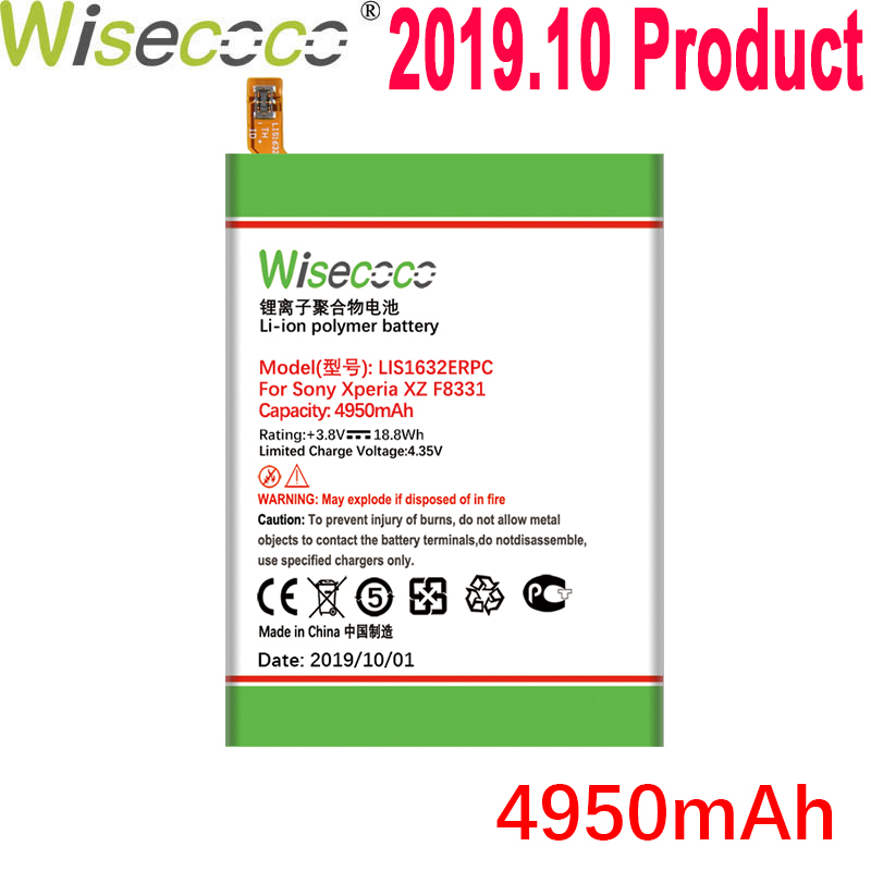 Wisecoco 4950mAh LIS1632ERPC <font><b>Battery</b></font> For SONY <font><b>Xperia</b></font> <font><b>XZ</b></font> Dual Sim F8332 XZs F8331 Phone Latest Production <font><b>Battery</b></font>+Tracking Number image