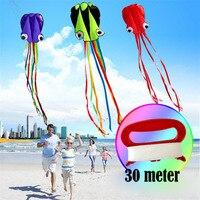 Cometa de pulpo grande 3D de 4M con mango para niños, juego de verano al aire libre, Software profesional de acrobacia, juguete para niños