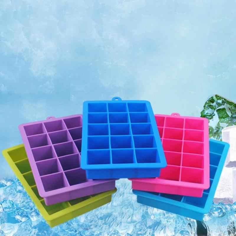 15 girdap DIY yaratıcı büyük buz küpü kalıp kare şekli silikon viski buz kalıbı meyve buz küpü Maker Bar mutfak aksesuarları
