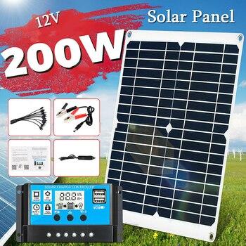 Kit de Panel Solar de 200W, controlador de 20A, 12V, puerto USB...
