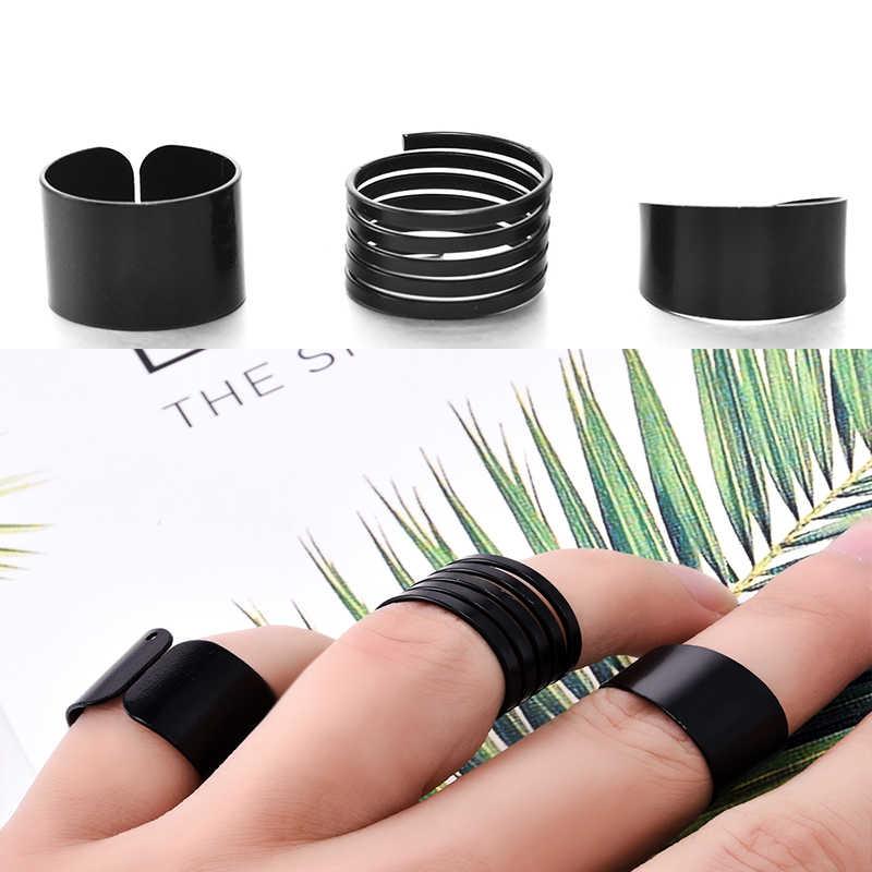 3 Pcs แฟชั่น Punk แหวน Anel 2016 Anillos สีดำ STACK PLAIN Knuckle แหวนวง MIDI Finger แหวนชุด