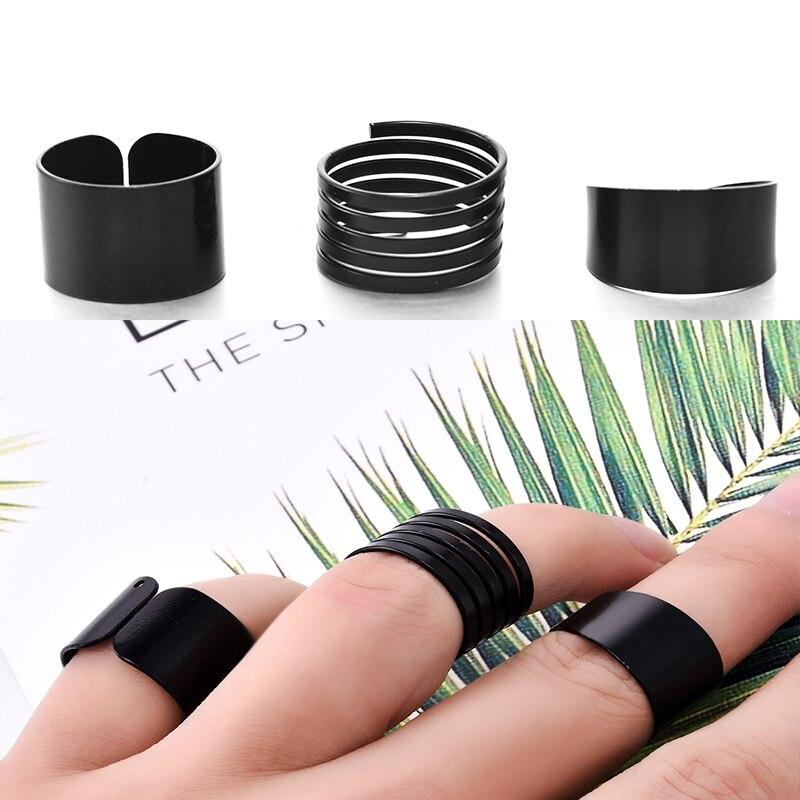 3 шт., модные кольца в стиле панк для женщин, Anel Anillos, черные простые кольца на концах пальцев, набор колец на палец средней длины