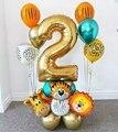 18 шт джунгли воздушные шарики в виде животных комплект 32 дюймов номер Globos сафари тема Дети От 1 до 9 лет День рождения украшения
