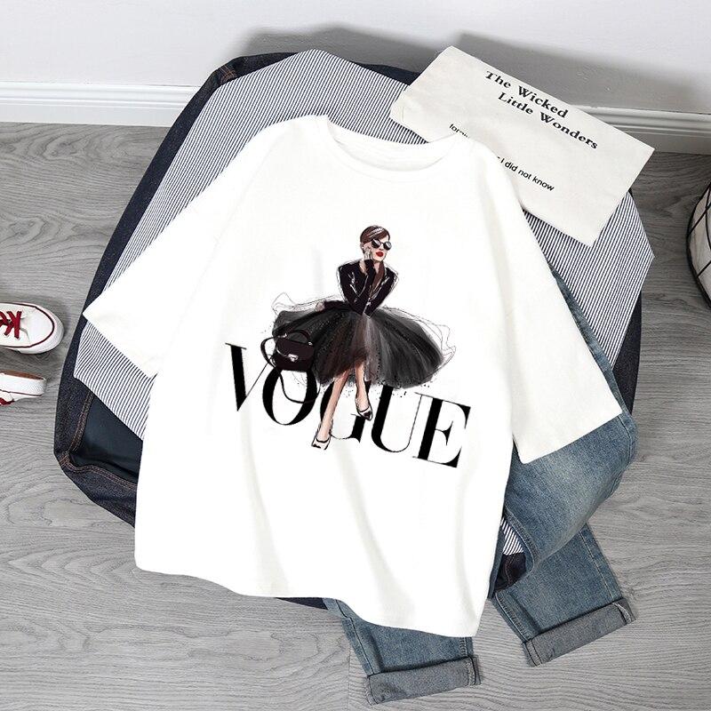 Модная женская футболка принцессы, модная летняя футболка с принтом, футболка оверсайз, повседневный топ с коротким рукавом в стиле Харадзю...