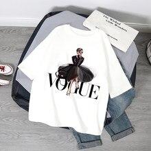 Moda princesa t camisa das mulheres impresso vogue verão camiseta de grandes dimensões casual mangas curtas harajuku camiseta feminina