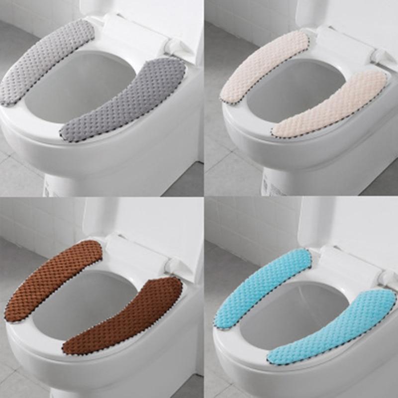 Bathroom Toilet Seat Closestool Washable Soft Warmer Mat Pad Cushion Cover G