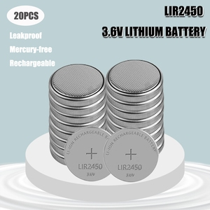 20Pcs/Lot 3.6V LIR2450 Rechargeable Batteries 120mAh 500 Times Lithium Coin Cell Button Battery Replaced CR2450 High Quality New