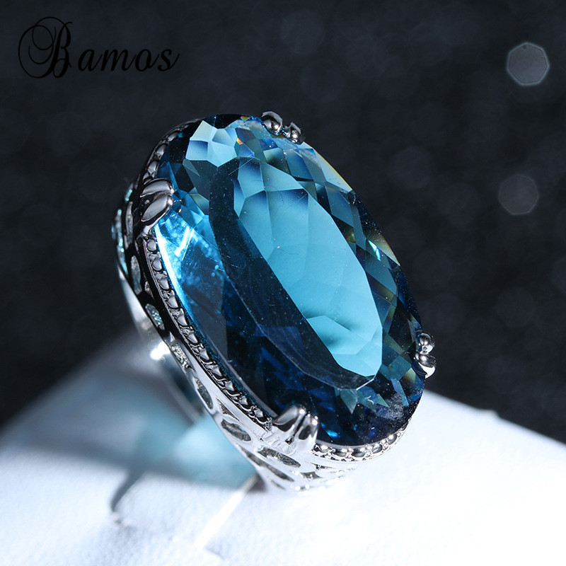 Luxury Big Ring For Women 925 Silver Color Hollow Vintage Jewelry Mosaic Sea Blue Zircon Promise Engagement Rings For Women