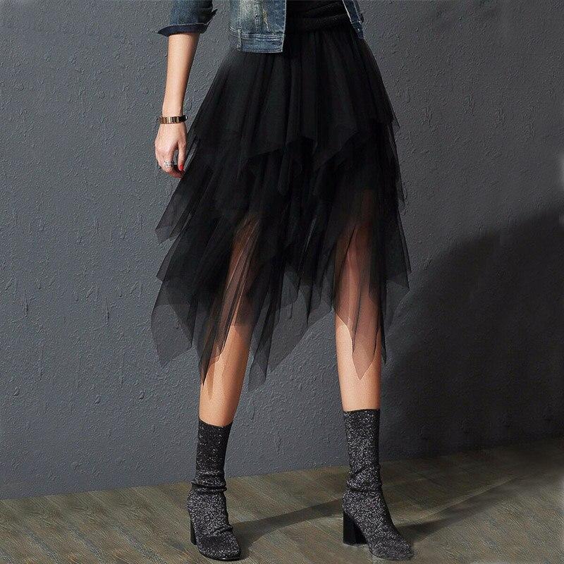 Irregular Mesh Sheer Tulle Skirt For Women Summer High Waist Skirt Up Party Petticoat Fashion Casual OL Style Long Maxi Skirt
