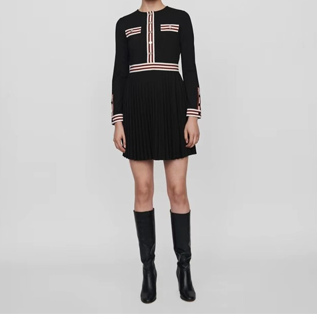 خليط اللباس النساء واحدة الصدر طويلة الأكمام يا الرقبة أزرار البسيطة اللباس الخريف-في فساتين من ملابس نسائية على  مجموعة 1