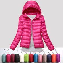 Ультра-легкий плюс размер 8XL тонкий пуховик женский Осень Зима Тонкий короткий с капюшоном Теплый белый пуховик женская верхняя одежда