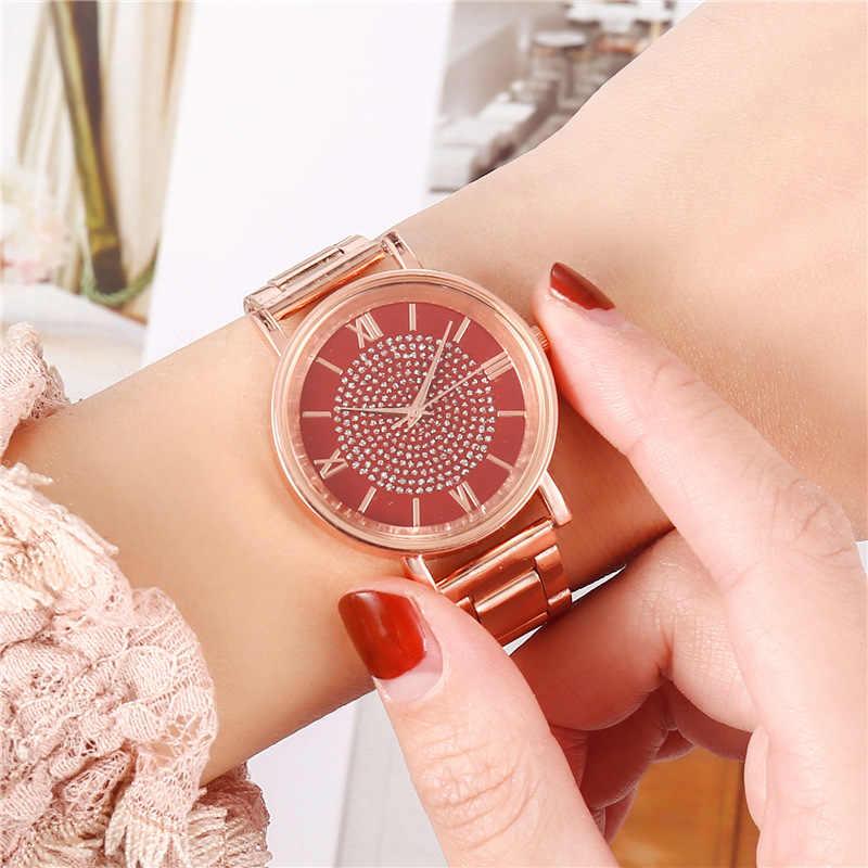 Lüks elmas gül altın kadın saatler bayanlar bilek saatler manyetik kadın bilezik izle kadın saat Relogio Feminino