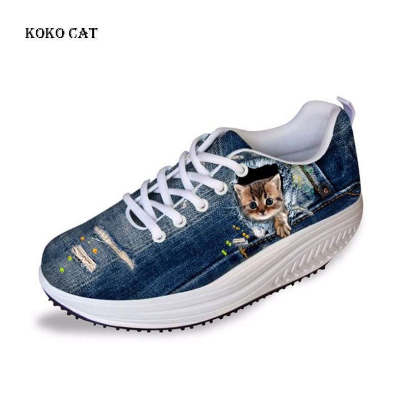 Koko Cat  Sneakers Women Platform Swing Shoes Demin Cat Animal Printing Casual Ladies Shoes Mesh Height Increasing Sneakers