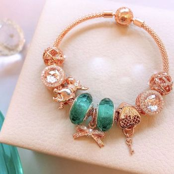 Quality Original 1:1 100%925 Sterling Silver Rose Gold Turquoise Beads Love Key Pendant Bracelet Free Shipping