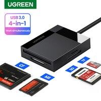 UGREEN-lector de tarjetas USB3.0 a SD, microSD, TF, CF, MS, para ordenador portátil, PC, lector de tarjetas inteligentes, adaptador de tarjeta SD 4 en 1