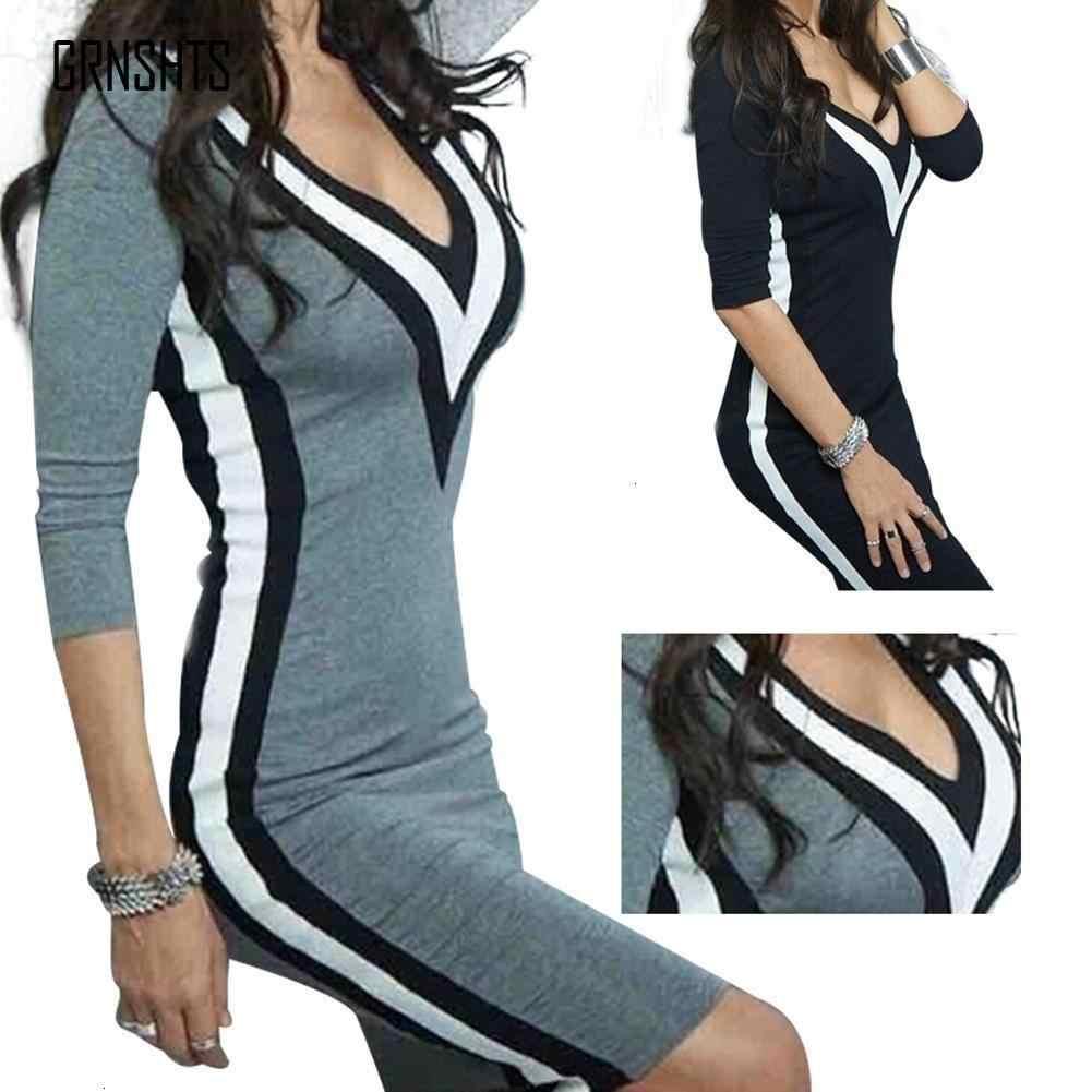 אביב Herfst אופנה נשים של שמלה עם ארוך פיות תפרים סקסי V-צוואר Slim Bodycon שמלה