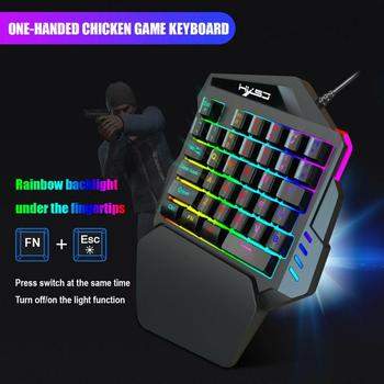 Ergonomic Mechanical Keyboard Mouse LED Combo Colorful Backlight One-Handed Wired Gaming Keyboards 5500DPI PC Gamer Set 5